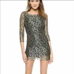 DVF gold lace dress SZ 10 NWT Gold and black lace dress. Stunning! Valentines Dress Diane von Furstenberg Dresses Mini