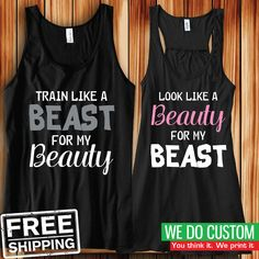 His and Her Matching Tanks - Like a Beast - Like a Beauty - Sleeveless Tank Tops #BellaCanvas #TankTop