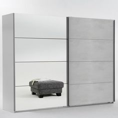 Furniture In Fashion Crato Mirrored Sliding Wardrobe In White And Concrete Light Grey White Sliding Wardrobe, Mirrored Wardrobe, Wardrobe Doors, Wardrobe Ideas, Bedroom Built Ins, Master Bedroom, Concrete Light, Grey Furniture, Hanging Rail