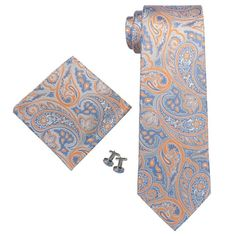 Landisun 67T Grey Blue Orange Paisley Mens Silk Neck Tie Set Blue Orange, Blue Grey, Moroccan Fabric, Paisley, Mens Silk Ties, Tie Set, Floral Tie, Fashion Accessories, Amazon