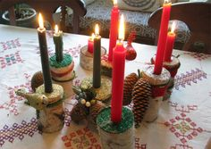 DIY:  Holiday Decorating With Kiddos - birch log candle holders from Cheeky Monkey Home Blog