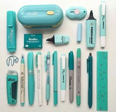 Turquoise stationery flatlay by - school outfits