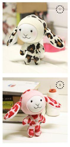 DIY Kit chaussette poupée Bunny à la main avec manuel d