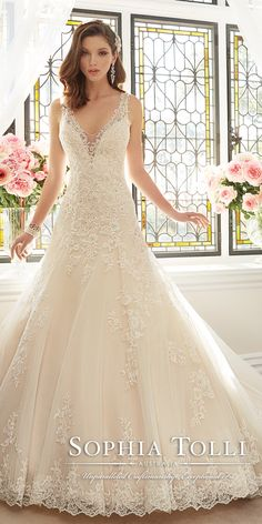 Sophia Tolli Spring 2016 Lace V-neck Wedding Dress