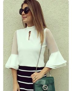 46 Ruffle Blouses That Will Make You Look Great - Fashion New Trends - Woman Clothes Modest Fashion, Fashion Dresses, Elegant Outfit, Ladies Dress Design, Western Wear, Look Cool, African Fashion, Blouse Designs, Blouses For Women