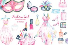 Watercolor Clipart Fashion Girl Collection - cosmetics, dresses, make-up, perfumes, lipsticks, beauty items, shoes and fashion items for instant download  This collection includes 36 high quality png files packed into 3 zip files for downloading. The image size varies, typically,  - dress, 5x8 - mask, 7x10 - cosmetics, 3x4  The format of the digital images is png with transparent background, 300 dpi.  How to download  The files should be available for download from Etsy after cleared…