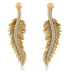 Allurez Diamond Feather Fashion Drop Earrings 14k Yellow Gold (0.20ct) ($925) ❤ liked on Polyvore featuring jewelry, earrings, drop earrings, dangle earrings, 14 karat gold charms, 14 karat gold earrings and 14k earrings
