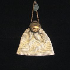 Whiting Davis Gate Top Purse White Mesh Purse by PowerOfOneDesigns