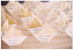 Unique Wedding Escort Place Card Ideas: Let your guests set sail with these pretty origami Sailboat Escort Cards Boat Wedding, Wedding Places, Nautical Wedding, Wedding Place Cards, Wedding Locations, Wedding Table, Diy Wedding, Wedding Favors, Card Wedding