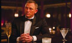 Daniel Craig as James Bond with his signature beverage.