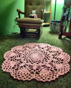 Intricate Pink Doily Area Rug, Perfect for Nursery, or Baby's adorable pictures