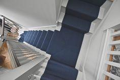 Navy Stair Runner, Stair Runners, Tiny House Stairs, Loom, Navy Blue, Flooring, Hallways, 1920s, Interior