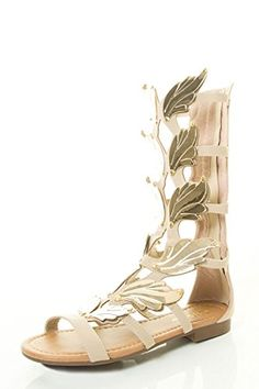 f7e7fd71c1635 Forevers Womens Gold Wing Embellishment Open Toe Caged Gladiator Mid Calf Flat  Sandal 7 Beige -