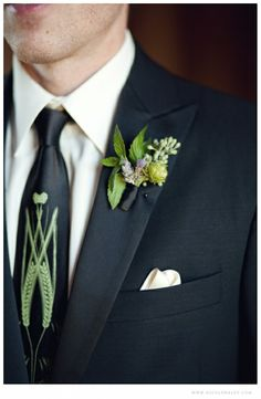 Hops, and herb boutonniere for Misty Farms Ann Arbor Michigan Wedding features mint, lavender, seeded euc and fresh hops from the Corner Brewery