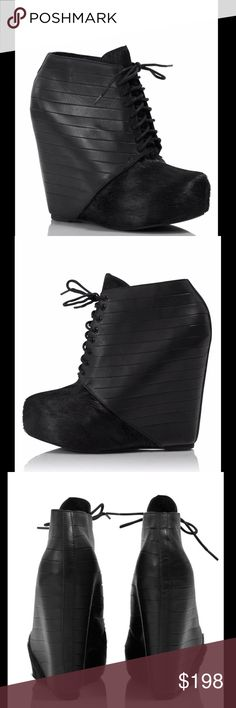 """Matiko pony hair hidden wedge bootie black pony hair platform wedge booties. Sliced leather and pony hair laced booties; 5.5"""" heel with 1.5"""" platform. Only worn once for a couple hours!  Size: 8.5  ❤I have over 300 new with tag Free People & More items for sale! I love to offer bundle discounts!  ❤No trades. I no longer discuss pricing in comments. Please use offer button to submit offer! 😊 Matiko Shoes Ankle Boots & Booties"""