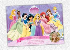 Disney Princess Invites by PrintSparkle on Etsy