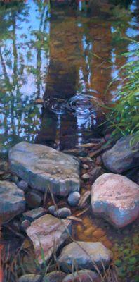 RiverStones XXVII pastel painting by artist Jill Stefani Wagner   www.jillwagnerart.com   Art for sale.