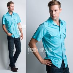 Men's vintage shirt Men's 70s shirt Men's Top Men's Turquoise shirt Men's Sports shirt Summer shirt - S/M