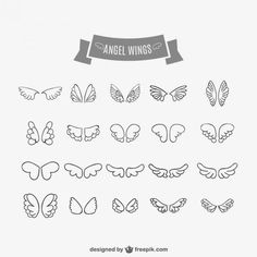 Angel wings doodles set Free Vector - All About Doodle Drawings, Doodle Art, Doodles, Bullet Journal Inspiration, Bujo Inspiration, Journal Ideas, Drawing Tips, Banners, Vector Free