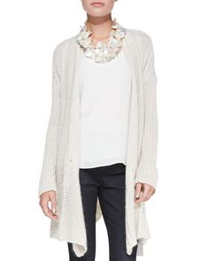 T8FH3 Eileen Fisher Fisher Project Cascading Open-Front Cardigan