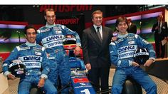 Arrows A18 1997 F1 Launch: Pedro Diniz, Jorg Muller, Tom Walkinshaw & Damon Hill