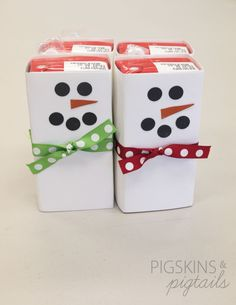 for class parties-juice box wrapped in cardstock and decorated like a snowman