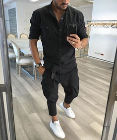 Black shirt and #cargopants , with a white sneaker by @vincenzoragnacci ✨ [ www.RoyalFashionist.com ]