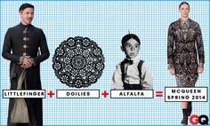 GQ's fashion formula: Littlefinger+Doilies+Alfalfa= Alexander McQueen's Men's Spring-2014 collection.