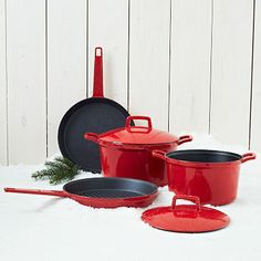 Enamel Cast Iron 6-Piece Set #westelm - I love cast iron, and a red kitchen.
