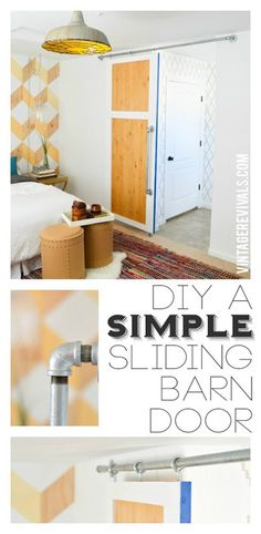 DIY Simple Sliding Barn Door @ Vintage Revivals - I cannot WAIT until we have a & Sliding Door Solution for Small Spaces (A Beautiful Mess) | Sliding ...