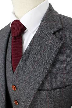 Tweed suits - Men's Suit 3 Piece Suit Herringbone Tweed Suit Retro Grey Wool Suit Mens Suit Fit, Mens 3 Piece Suits, Three Piece Suit, Mens Suits, Groom Suits, Groom Attire, Groomsmen, The Suits, Grey Wool Suit
