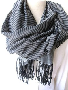 Turkey Turkish Scarf - Gray Grey Black stripe long cotton fabric Men's scarves- New Spring FASHION Scarf unisex gifts