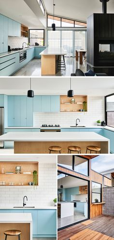 Modern Kitchen Interior In this modern kitchen, matte light blue cabinets are paired with a white tile backsplash, plywood open shelves and island, and light Caesarstone countertops. Blue Kitchen Cabinets, Kitchen Cabinet Design, Modern Kitchen Design, Interior Design Kitchen, Modern Cabinets, Island Kitchen, Kitchen Shelves, Blue Kitchen Countertops, Blue Kitchen Tiles