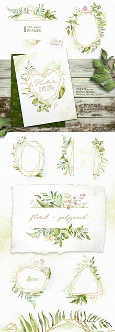 ad: watercolor graphics set, feminine crystal illustrations, frames and clipart templates perfect for wedding invitations $36 instant download