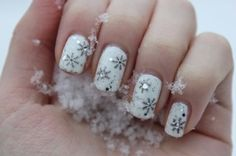 White snowflake nails. Winter nails