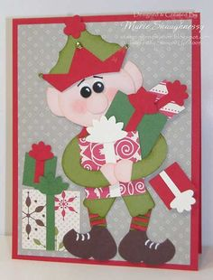 CHRISTMAS ELF PUNCH ART CARD featuring Stampin' Up! Punches.  Includes a FREE tutorial on Punch Art.  Stamping Inspiration from MarieStamps.com
