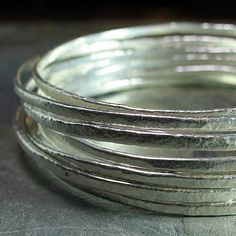 Stacking Bangle set of 3 in textured fine by LavenderCottage