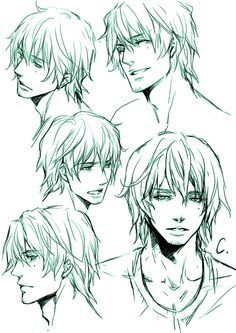 Manga Boy - Different Expressions from different Angles - Drawing Reference