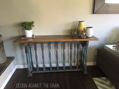 Repurposed console sofa table!! Made from a vintage banister.