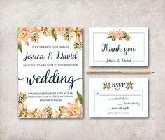 Wedding Invitation Printable, Fall Wedding Invitation, Digital File - Floral Wedding Invitation Suite - pinned by pin4etsy.com