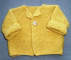 """Garter Stitch Baby Cardigan, adapted from Debbie Bliss pattern. Yarn weight (3) Light/DK, tension 21-24 stitches = 4"""". Very small size - Chest 10"""" (Size ooooo) Knit separately to underarms, then as one piece, shaping raglans as you go."""