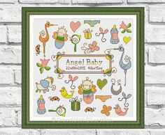 """Birth Announcement cross stitch pattern """"Angel Baby"""". Suitable for baby boys & baby girls. Send us baby's details for customization (P156)"""