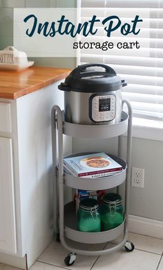 Cheap Home Decor Instant Pot storage cart. Small space solutions for storing your instant pot and accessories.Cheap Home Decor Instant Pot storage cart. Small space solutions for storing your instant pot and accessories. Kitchen Pantry, New Kitchen, Kitchen Appliances, Kitchen Ideas, Awesome Kitchen, Kitchen Cabinets, Small Kitchen Cart, Hidden Kitchen, Beautiful Kitchen