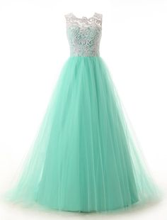 Dressystar® Long Prom Dresses Lace Bridesmaid Ball Gowns with Buttons on Back: Elegant and stereoscopic lace bodice, shapely tulle skirt , zipper back with buttons embellishment and fully lined. You'll love this sleeveless floor length lace dress. Mint Prom Dresses, Turquoise Prom Dresses, Green Lace Dresses, Prom Dresses 2015, Elegant Prom Dresses, Lace Party Dresses, A Line Prom Dresses, Tulle Prom Dress, Cheap Prom Dresses