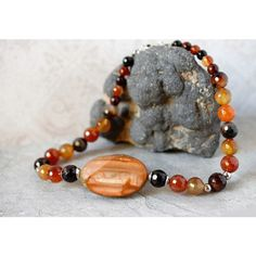 Red Carnelian Necklace Burnt Orange Jasper Pendant Big Chunky Bold... ($175) ❤ liked on Polyvore featuring jewelry, sterling silver jewellery, chunky sterling silver jewelry, sterling silver pendants, carnelian jewelry and chunky jewelry