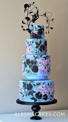Lavender Black Lace Cake by Albena - http://cakesdecor.com/cakes/244909-lavender-black-lace-cake