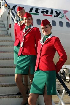 Air Alitalia On – Flight Attendant attendants Alitalia Airlines, Air Hostess Uniform, Airline Cabin Crew, Airline Uniforms, Girls Uniforms, Flight Attendant, Lady, How To Wear, Beautiful