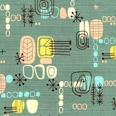 Atomic Barkcloth for Sale | SO SHaG Retro JaDE Atomic Tiki Barkcloth by AtomicLivinVintage