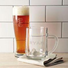 Monogrammed beer glasses.