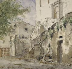 Henri Rouart (1833-1912) - Escalier du château de Grimaldi à Cagnes - Aquarelle. Orléans, MBA